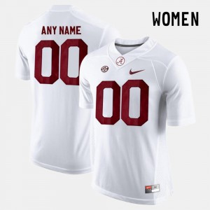 #00 Alabama Crimson Tide For Women College Limited Football Customized Jersey - White