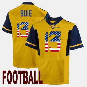 #13 Andrew Buie West Virginia Mountaineers US Flag Fashion For Men Jersey - Gold