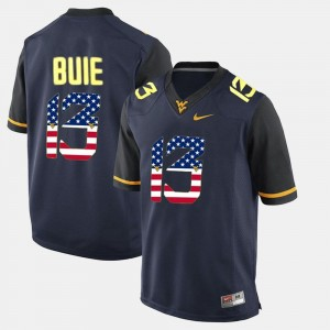#13 Andrew Buie West Virginia Mountaineers Men US Flag Fashion Jersey - Navy Blue