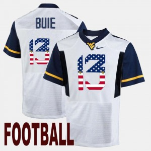 #13 Andrew Buie West Virginia Mountaineers Men's US Flag Fashion Jersey - White
