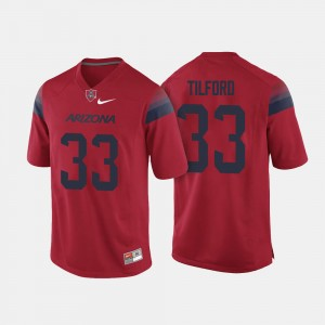 #33 Nathan Tilford Arizona Wildcats For Men College Football Jersey - Red