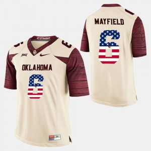 #6 Baker Mayfield Oklahoma Sooners US Flag Fashion For Men's Jersey - White