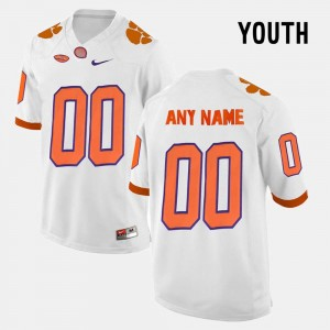 #00 Clemson Tigers For Kids College Limited Football Customized Jerseys - White
