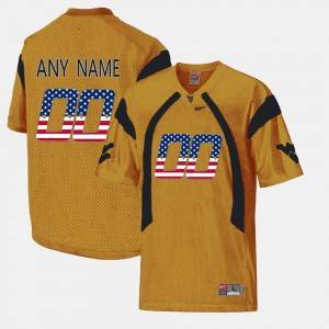 #00 West Virginia Mountaineers US Flag Fashion Men's Custom Jersey - Gold