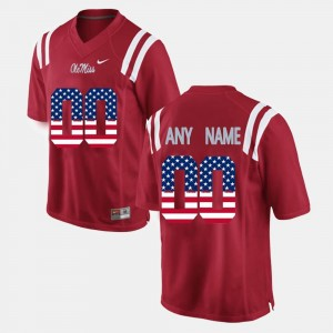 #00 Ole Miss Rebels US Flag Fashion Mens Customized Jerseys - Red