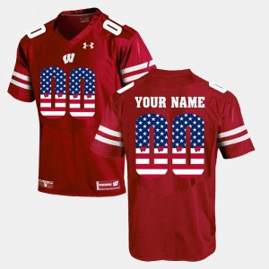 #00 Wisconsin Badgers US Flag Fashion For Men Custom Jersey - Red