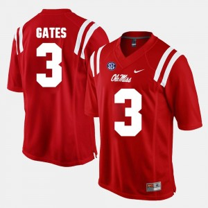 #3 DeMarquis Gates Ole Miss Rebels For Men Alumni Football Game Jersey - Red