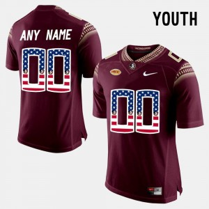 #00 Florida State Seminoles Youth US Flag Fashion Custom Jersey - Red