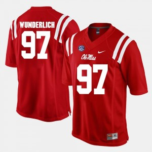 #97 Gary Wunderlich Ole Miss Rebels Alumni Football Game For Men's Jersey - Red