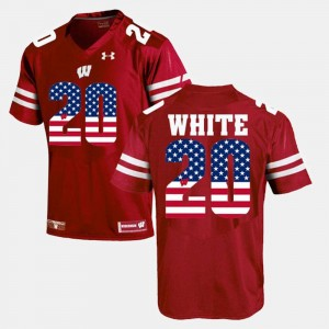 #20 James White Wisconsin Badgers Men's US Flag Fashion Jersey - Maroon