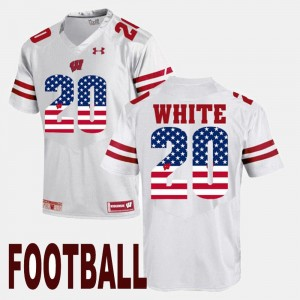 #20 James White Wisconsin Badgers US Flag Fashion For Men's Jersey - White