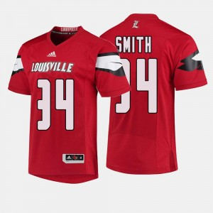 #34 Jeremy Smith Louisville Cardinals Men College Football Jersey - Red