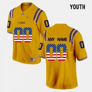 #00 LSU Tigers For Kids US Flag Fashion Customized Jerseys - Gold