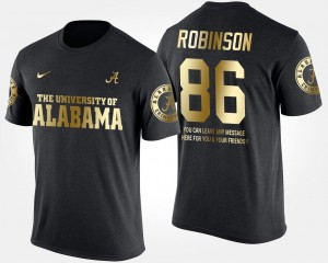 #86 A'Shawn Robinson Alabama Crimson Tide Gold Limited For Men's Short Sleeve With Message T-Shirt - Black