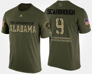 #9 Bo Scarbrough Alabama Crimson Tide For Men's Military Short Sleeve With Message T-Shirt - Camo