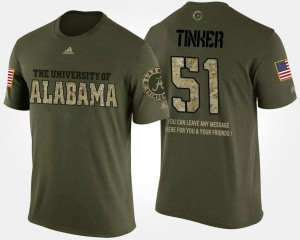 #51 Carson Tinker Alabama Crimson Tide Military Short Sleeve With Message For Men's T-Shirt - Camo