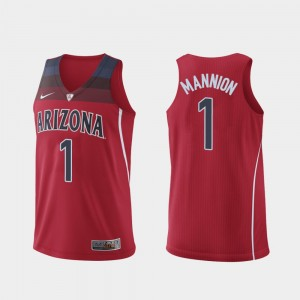 #1 Nico Mannion Arizona Wildcats For Men's Authentic Hyper Elite College Basketball Jersey - Red