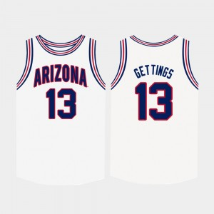 #13 Stone Gettings Arizona Wildcats College Basketball For Men Jersey - White