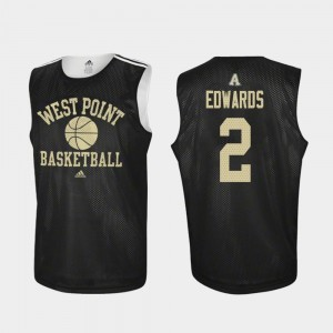 #2 Cayne Edwards Army Black Knights For Men's Practice College Basketball Jersey - Black