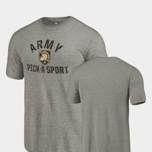 Army Black Knights For Men Tri-Blend Distressed Pick-A-Sport T-Shirt - Gray