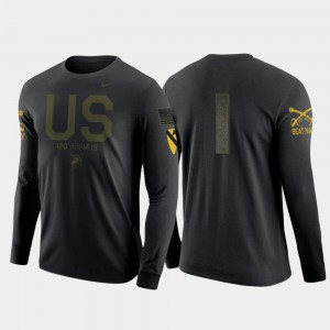 #1 Army Black Knights Long Sleeve 1st Cavalry Division For Men's T-Shirt - Navy