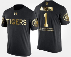 #1 Auburn Tigers For Men No.1 Short Sleeve With Message Gold Limited T-Shirt - Black