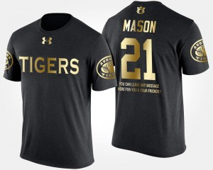 #21 Tre Mason Auburn Tigers Gold Limited For Men Short Sleeve With Message T-Shirt - Black