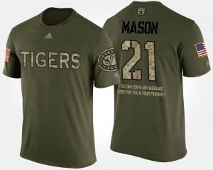 #21 Tre Mason Auburn Tigers Military For Men's Short Sleeve With Message T-Shirt - Camo