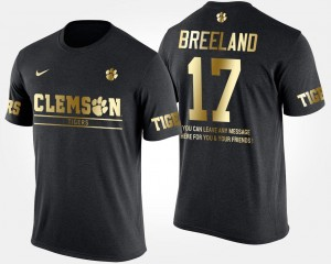 #17 Bashaud Breeland Clemson Tigers For Men's Short Sleeve With Message Gold Limited T-Shirt - Black