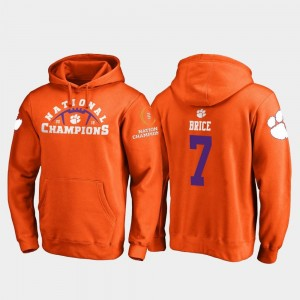#7 Chase Brice Clemson Tigers For Men 2018 National Champions College Football Playoff Pylon Hoodie - Orange