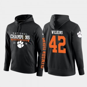 #42 Christian Wilkins Clemson Tigers Mens 2018 National Champions College Football Pullover Hoodie - Black