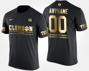 #00 Clemson Tigers Mens Gold Limited Short Sleeve With Message Customized T-Shirt - Black