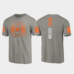 #00 Clemson Tigers College Football Playoff 2018 National Champions Men Customized T-Shirt - Gray
