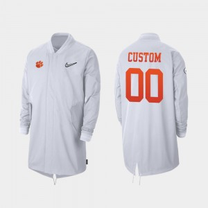 #00 Clemson Tigers For Men 2019 College Football Playoff Bound Full-Zip Sideline Custom Jackets - White