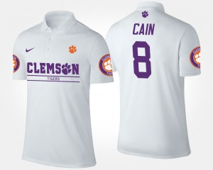 #8 Deon Cain Clemson Tigers For Men's Polo - White
