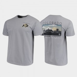 Colorado Buffaloes Comfort Colors Campus Scenery For Men T-Shirt - Gray