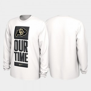 Colorado Buffaloes For Men's 2020 March Madness Our Time Bench Legend T-Shirt - White