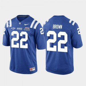 #22 Brittain Brown Duke Blue Devils 2018 Independence Bowl Men's College Football Game Jersey - Royal