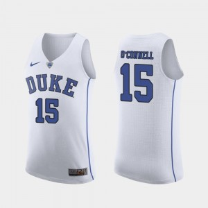 #15 Alex O'Connell Duke Blue Devils March Madness College Basketball Authentic For Men Jersey - White