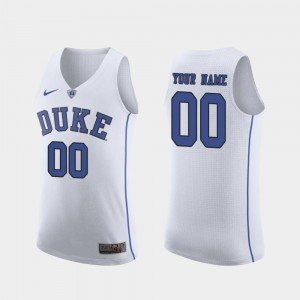 #00 Duke Blue Devils Authentic March Madness College Basketball For Men's Customized Jersey - White