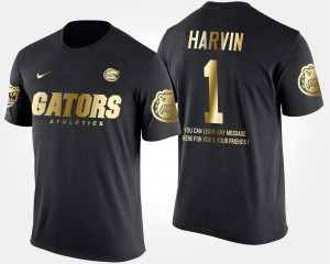 #1 Percy Harvin Florida Gators Short Sleeve With Message Gold Limited For Men T-Shirt - Black