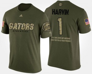 #1 Percy Harvin Florida Gators Men's Military Short Sleeve With Message T-Shirt - Camo