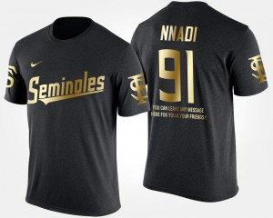 #91 Derrick Nnadi Florida State Seminoles Gold Limited Short Sleeve With Message For Men's T-Shirt - Black