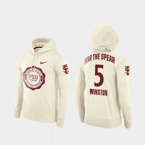 #5 Jameis Winston Florida State Seminoles Rival Therma College Football Pullover For Men Hoodie - Cream
