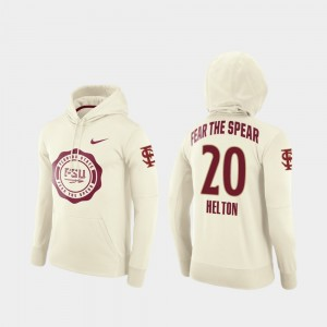 #20 Keyshawn Helton Florida State Seminoles Rival Therma College Football Pullover For Men Hoodie - Cream