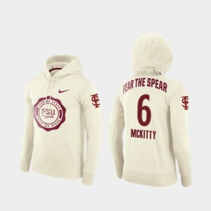 #6 Tre' McKitty Florida State Seminoles Rival Therma College Football Pullover For Men's Hoodie - Cream