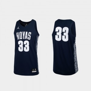 #33 Georgetown Hoyas For Men's College Basketball Replica Jersey - Navy