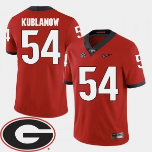 #54 Brandon Kublanow Georgia Bulldogs For Men's 2018 SEC Patch College Football Jersey - Red