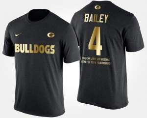 #4 Champ Bailey Georgia Bulldogs Men's Gold Limited Short Sleeve With Message T-Shirt - Black
