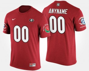 #00 Georgia Bulldogs Mens Bowl Game Southeastern Conference Rose Bowl Customized T-Shirts - Red